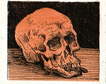 Small skull, original art, etching,  print, fine art print, printmaking, intaglio, affordable art, miniprint, Chine-collé, art,memento mori