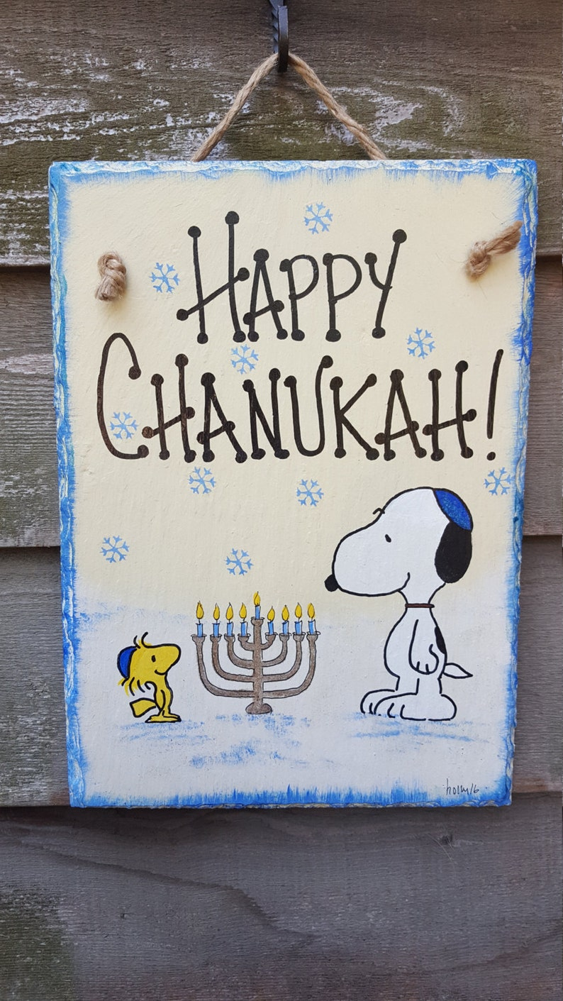 Snoopy And Woodstock Menorah Yarmulke Hand Painted Happy Etsy