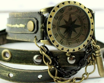 Army Green Leather Watch, Women's Wrap Watch, Bullet Watch, Leather Wrist Watch, Leather Gift, Leather Bracelet,