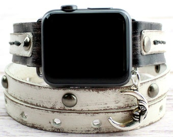 Black and White Apple Watch Band with Moon Charm, Leather apple watch band 38mm women, Leather apple watch band 42mm women, Apple Wrap Watch
