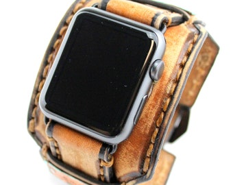 Distressed brown Apple Watch Cuff with Customizable Metal tags, Leather Watch band for Apple Watch