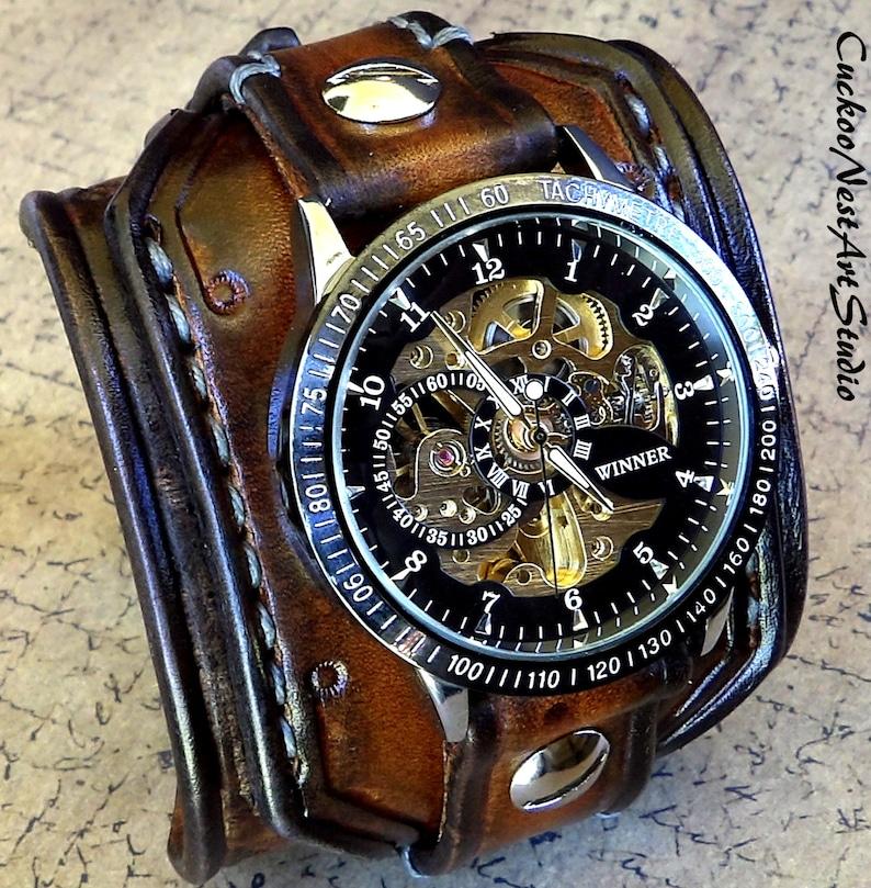 Steampunk Armbanduhr Lederarmbanduhr Skelett Uhr Leder Etsy