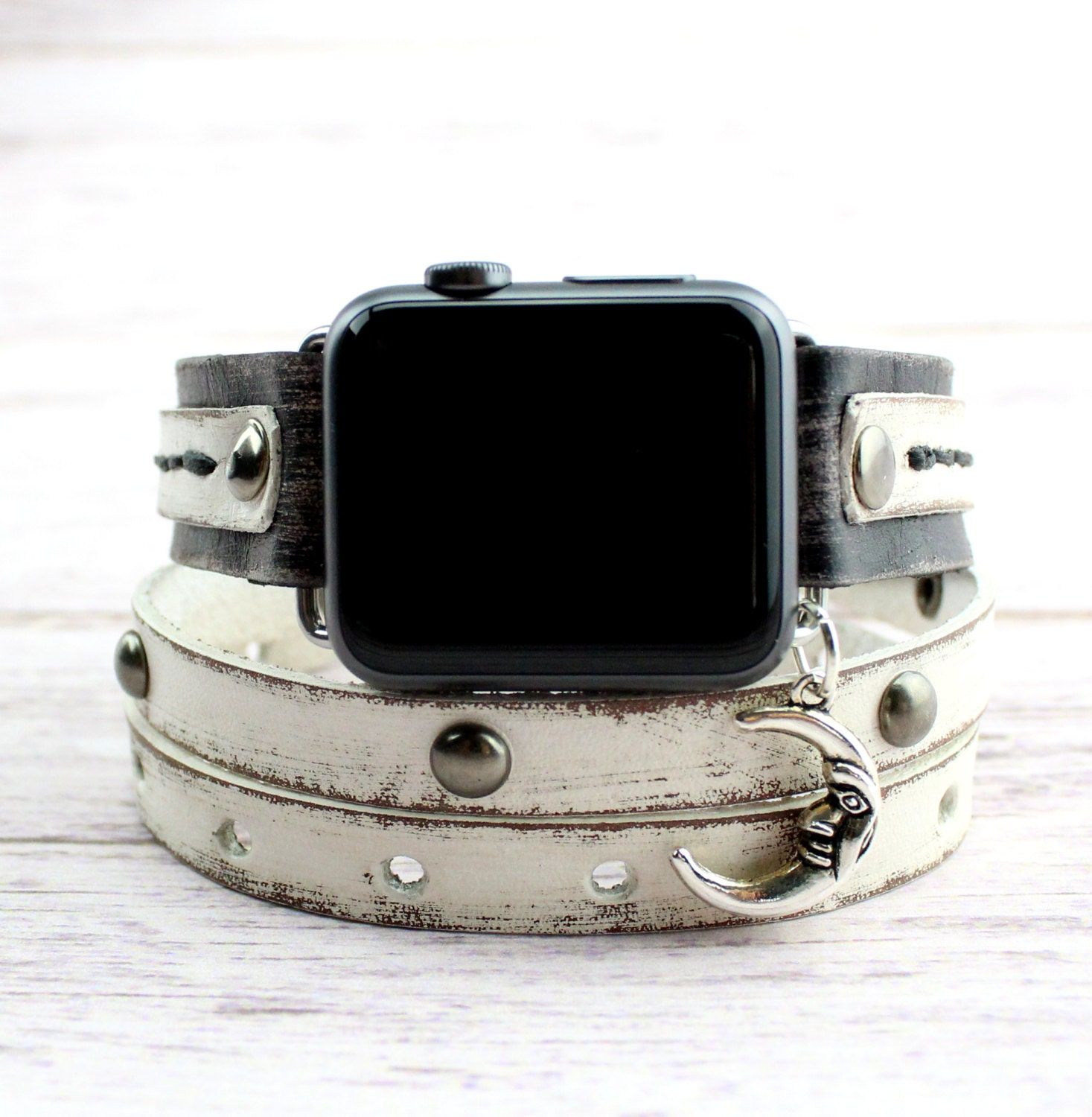 Black and White Leather Apple Watch Band with Moon Charm  3ac0225cab