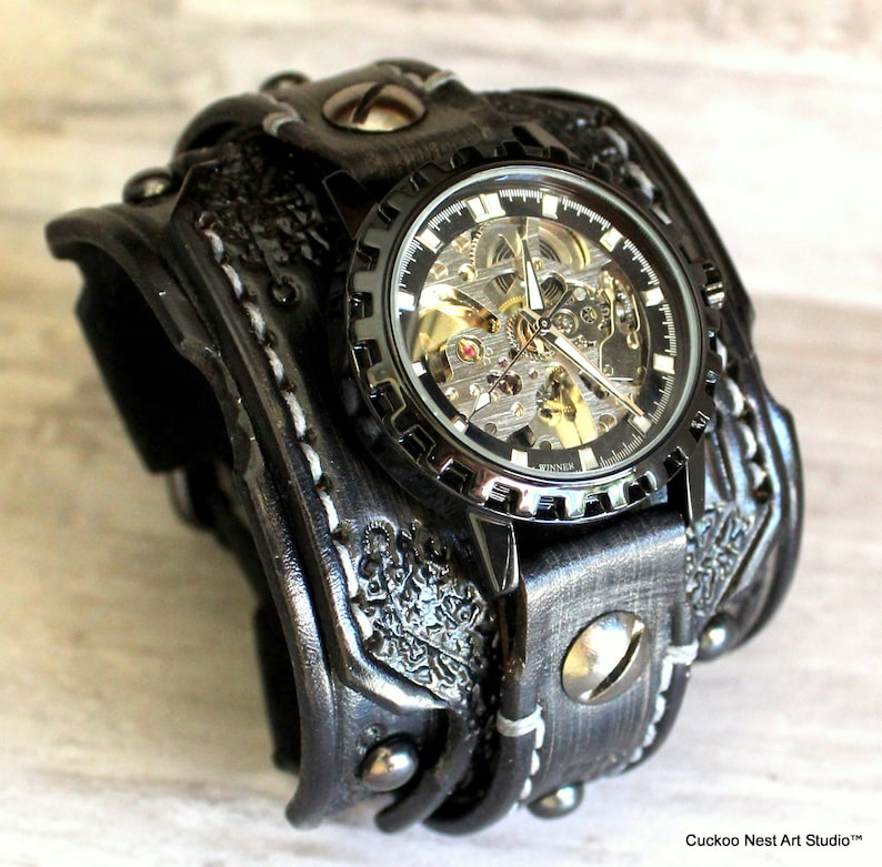 2953552b9 Skeleton Leather Watch Steampunk Watch Cuff Men's watch image 0 ...