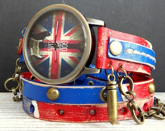 UK Flag Leather Wrap Watch, Guitar Watch, Womens leather watch, Bracelet Watch, Wrist Watch with charm