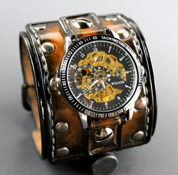Manschette Nerz Geschenk ArmbandLederarmbandMechanische Leder Benutzerdefinierte Personalisiertes UhrHerrenuhrSteampunk culKJ5F13T