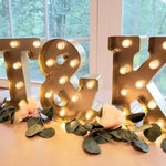 GOLD Metal Wedding Marquee Light | Large Light Up Letter/Light Up Letters/Marquee Sign/Etsy Wedding Sign/ Marquee Letter/Table Light Up Sign