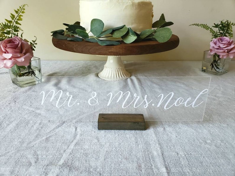 Personalized Acrylic Mr and Mrs Table Top Sign  Head Table  image 0