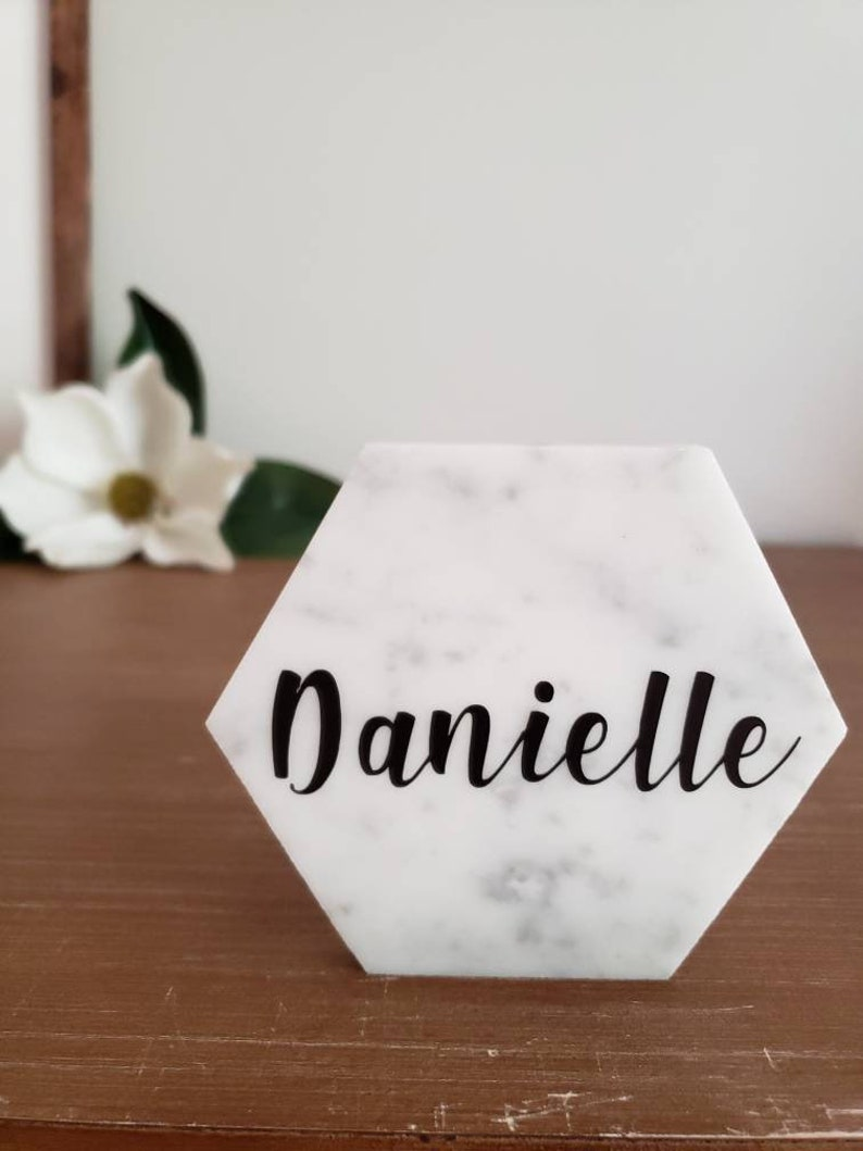 Marble Place Card  Wedding Favor Alternative  White Marble image 0