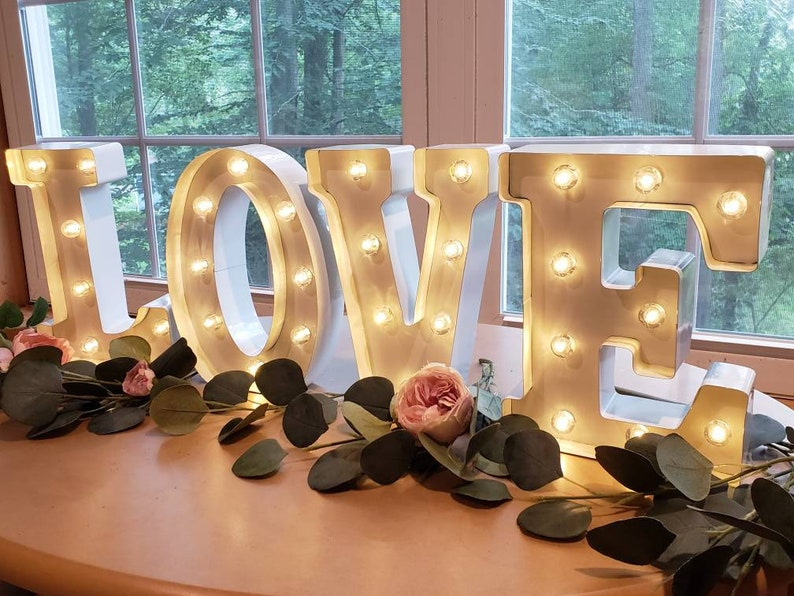 WHITE Wedding Marquee Light  Large Light Up Letter  Light Up image 0