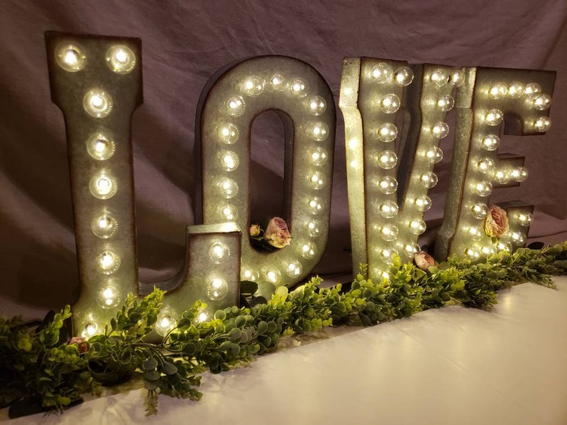 Wedding Galvanized Metal Marquee Large Light Up Letter  Light image 0