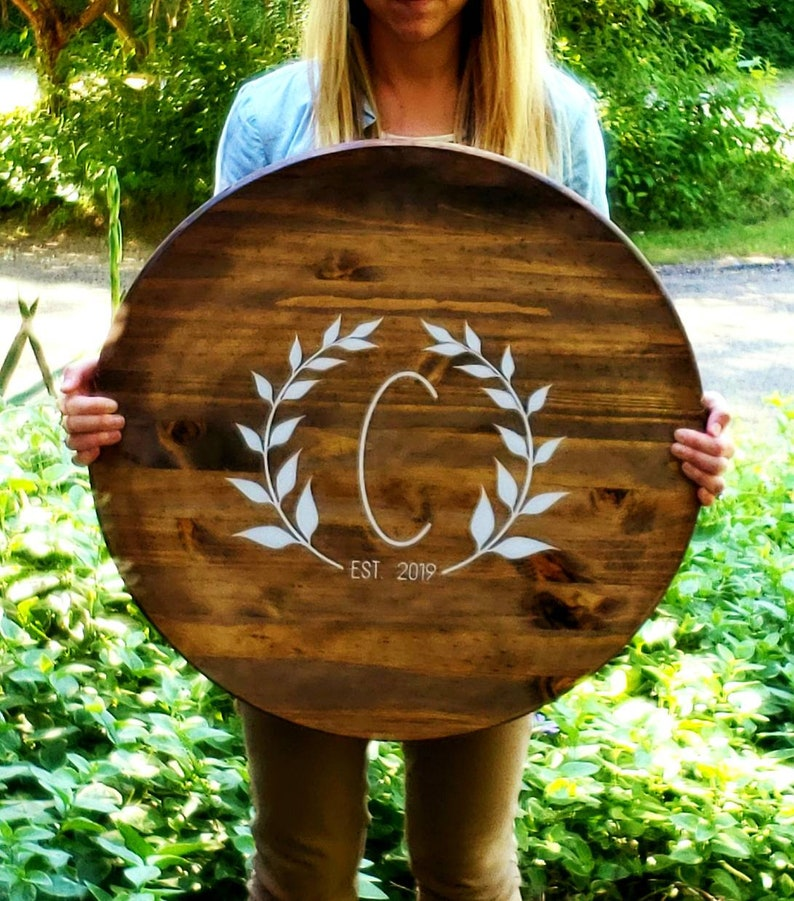 Large 2 FT Round Leaf Initial Wood Sign  Guestbook image 0