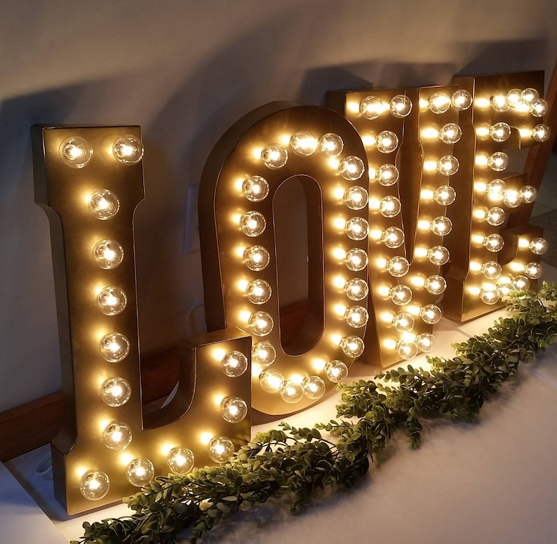 GOLD Large Wedding Marquee Light  Light Up Letter  Giant image 0
