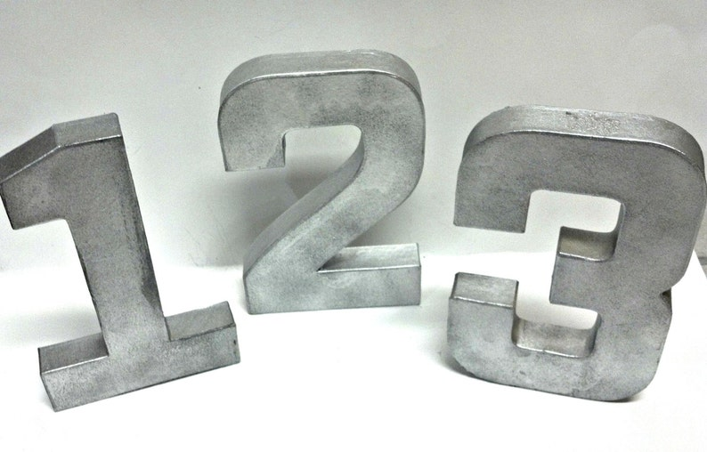 Rustic Wedding Faux Table Number  Large Metal Letter image 0