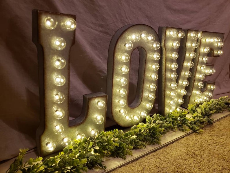 SILVER Wedding Marquee Light  Large Light Up Letter  Light image 0