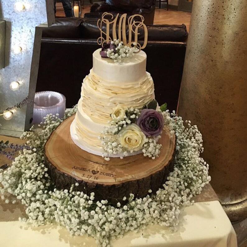 Rustic Wood Cake Stand Personalization Tree Slice Wood Slab Etsy Wedding Sign Etsy Wedding Stand