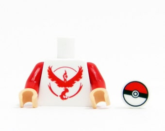 Pokemon Go Team Valor Torso (Red) - miniBIGS Custom LEGO Figure Part made from Genuine LEGO Minifigure Elements