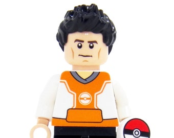 Pokemon Go Trainer (Orange) - miniBIGS Custom Figure made from Genuine LEGO Minifigure Elements
