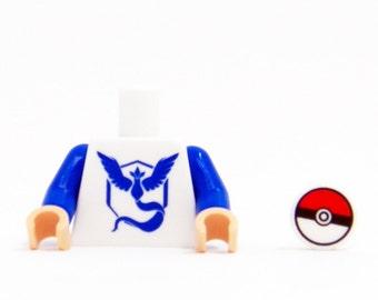 Pokemon Go Team Mystic Torso (Blue) - miniBIGS Custom LEGO Figure Part made from Genuine LEGO Minifigure Elements
