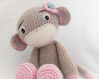 Personalised Girl Monkey, Amigurumi Monkey, Light Pink Monkey