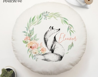 Personalised Enchanted Fox Floral Wreath cushion, round cushion, nursery cushion, woodland, baby gift, baby shower, keepsake.