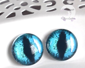"Eyechips ""cat eye"" glass - size 13mm - Turquoise iridescent for Pullip and Yeolume"