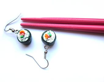 Colourful Polymer Clay Sushi Earrings, Cute Sushi Jewellery