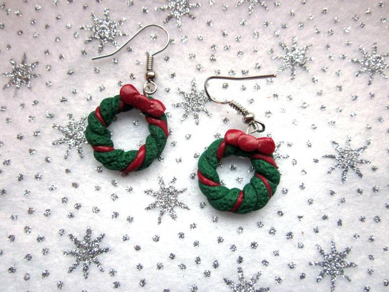 Christmas Wreath Earrings Festive Earrings Christmas Etsy