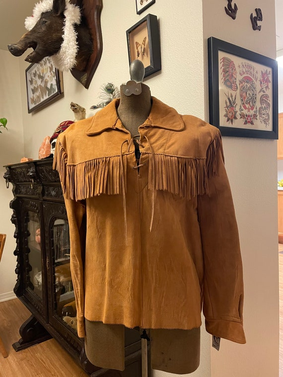 Vintage Hippy Leather Fringe Tunic
