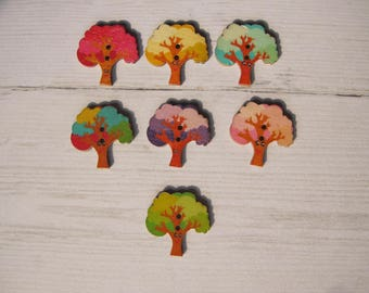 Set of 4 colorful tree wooden buttons