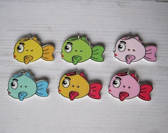 Set of 4 large wooden colorful fish buttons