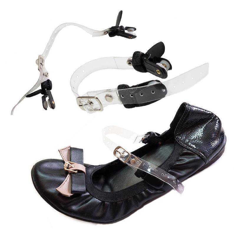 ae9e5602ba0 ... Double Clip Detachable Shoe Straps for Flats Heels and Wedges Black  Transparent ...