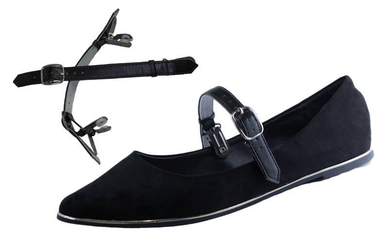 860c98dafae Double Clip Detachable Shoe Straps for Flats Heels and Wedges Black ...