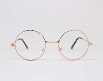 028ec258e9 Round gold glasses frames. Clear lens 20s design metal frame eyeglasses.  John Lennon spectacles.