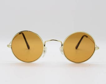 6c06512db89 90 s round vintage sunglasses. Original NOS tiny gold metal frame with  brown lenses. NWOT. 1920 s style. John Lennon. Steampunk. Micro.