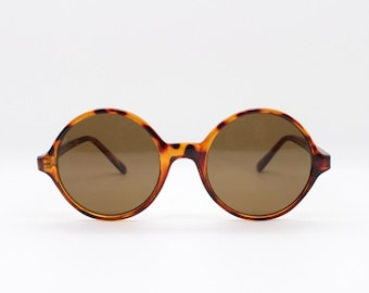 86070dea04 90s vintage sunglasses. NOS. Round tortoise 20s style with brown lenses.  BNWT. Unused originals. Mens. Womens. John Lennon.