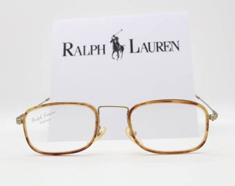 246ad0d9140 Ralph Lauren glasses. POLO original vintage 90s eyeglasses. Satin gold and  tortoise spectacle frames. NOS. Prescription clear lens. Italy.