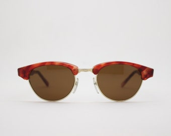 cf8897ae5e Clubmaster style vintage 80s cat eye sunglasses. Half frame tortoise brow  line cateyes with brown lenses. 50s style cateye.