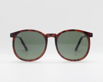 16236cd116 80s vintage oversized round sunglasses. Slim tortoise frame with green  lenses. Womens sunnies. 70s. NOS. BNWT. Rave.