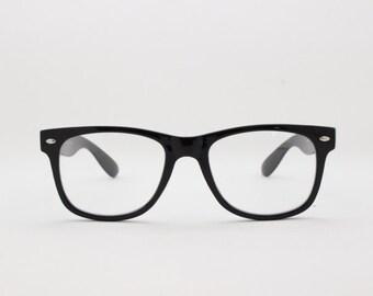 2c30751b7e0 Black wayfarer style glasses. Classic 40s design optical frames. Prescription  eyeglasses. Clear lens glasses. NHS. Spectacles.