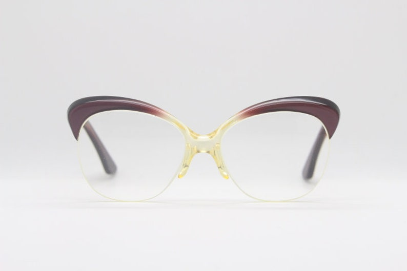 8fdf08e41f4 50s vintage round cat eye glasses. Brown browline half frame cateyes ...