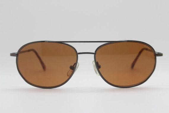 90's small aviator sunglasses. Original NOS square metal frame aviators with brown lenses. NWT. Teardrop. Mens womens aviators. The General.