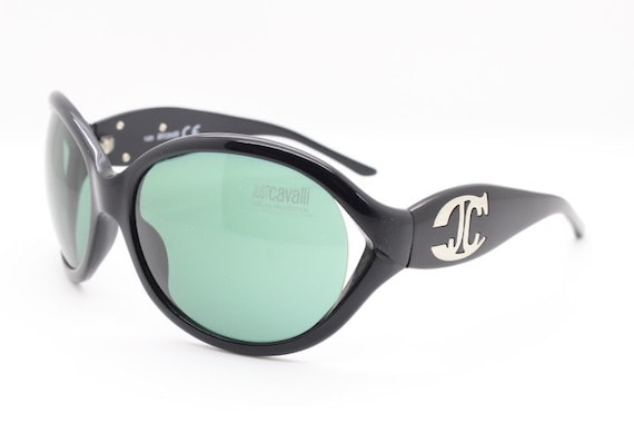 Y2K black sunglasses by Just Cavalli. Large flambo