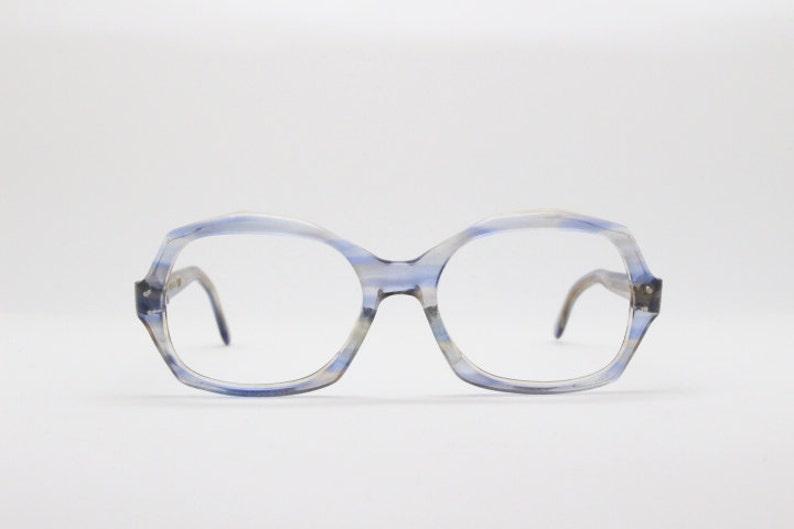 081e541a8516 70s spectacles blue frame clear lens glasses vintage
