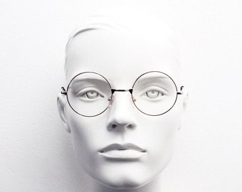 90s round rose gold glasses frames. Clear lens 20s design metal frame eyeglasses. John Lennon spectacles