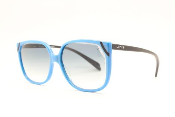 80s vintage blue square cateye sunglasses by Lozza