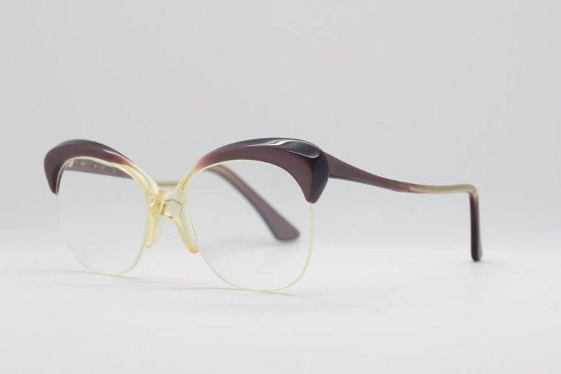 cf290a3b38 50s vintage round cat eye glasses. Brown browline half frame