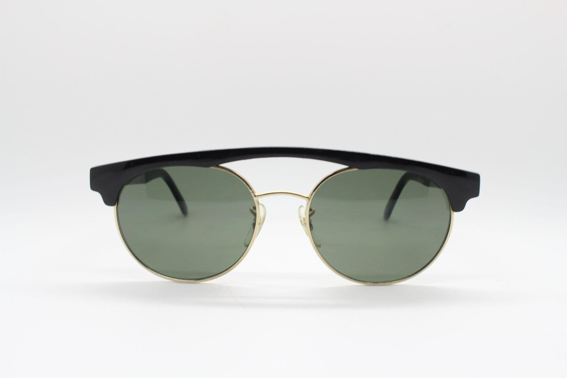 Dynamic honey tortoise brow line double bridge half frame Luxe Gallery Projects Linda Farrow 80s vintage sunglasses model 218