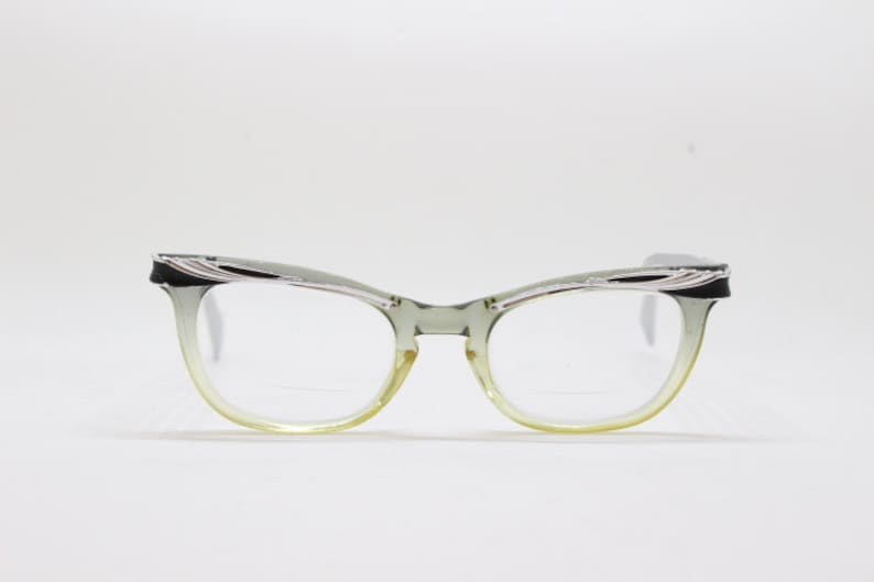 944fb40d146 Original 1950s vintage black and silver cat eye spectacles.