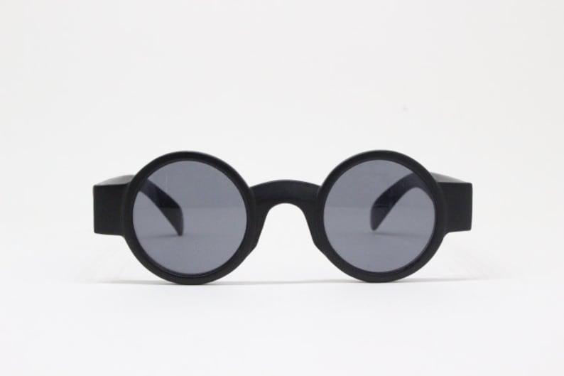 90s vintage micro sunglasses. Tiny black matt round pure image 1